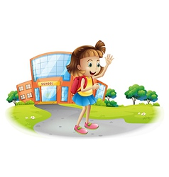 A girl going home from school vector image vector image