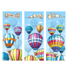 Banners for hot air balloon travel tour vector
