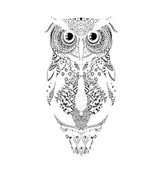 black hand drawn tribal patterned owl vector image
