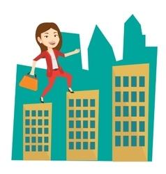 Business woman walking on the roofs of buildings vector