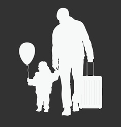 Child with father and travel bag vector