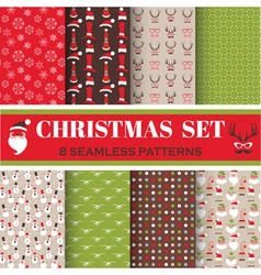 Christmas Retro Set - 8 seamless patterns vector image