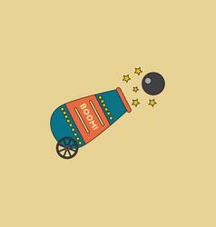 Circus cannon flat icon vector