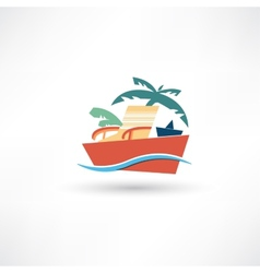 Color beach icon vector image