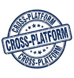 Cross-platform blue grunge stamp vector