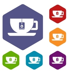Cup of tea with tea bag icons set vector image vector image
