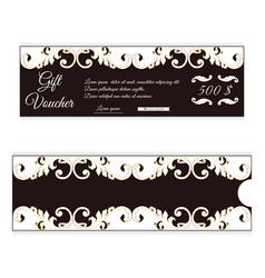 Elegant discount gift voucher is brown with white vector