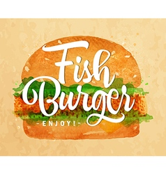 Fish burger kraft vector image