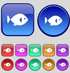 fish icon sign A set of twelve vintage buttons for vector image vector image