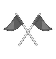 Flags of golf course icon gray monochrome style vector