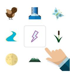 Flat icon bio set of lightning bird peak and vector
