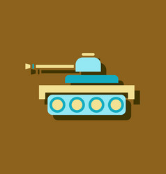 Flat icon design collection army tank in sticker vector
