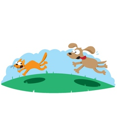 Funny Dog Hounting a Cat vector image vector image