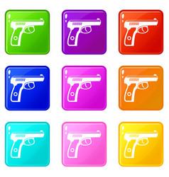 Gun icons 9 set vector
