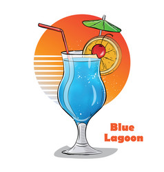 Hand drawn of cocktail blue lagoon vector