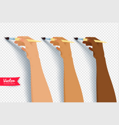 Hands painting with brush vector