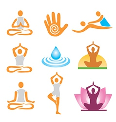 Icons yoga spa massage vector