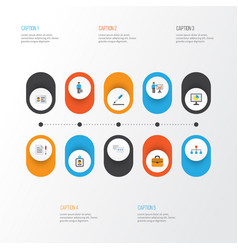 Job flat icons set collection of presenting man vector