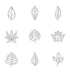 Leaf silhouette icons set outline style vector