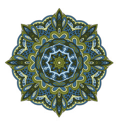 Mandala doodle drawing round ornament olive green vector