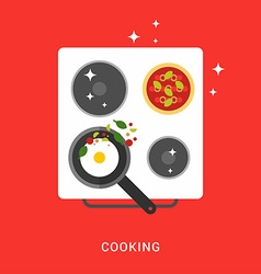 Pan with Fried Eggs on the Cooker Cooking Concept vector image