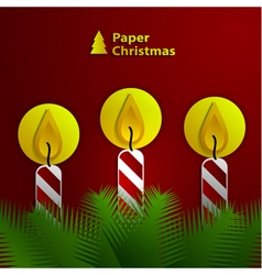 Paper Christmas candles vector image vector image