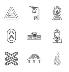 railway steward icons set outline style vector image