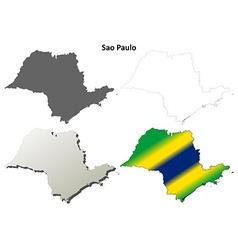 Sao paulo blank outline map set vector