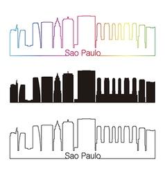 Sao Paulo V2 skyline linear style with rainbow vector image