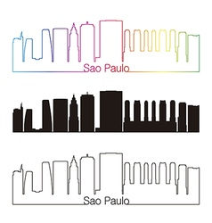 Sao Paulo V2 skyline linear style with rainbow vector image vector image