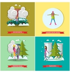 Set of winter time concept posters banners vector