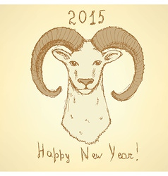 Sketch New Year ram in vintage style vector image