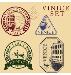 Streets in Venice Stamp set vector image
