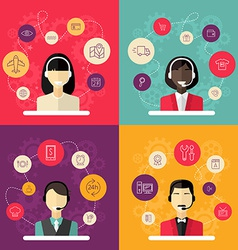 Technical support banners set assistant woman with vector