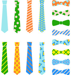 Ties and bow ties set in cartoon flat style vector