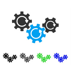 Transmission gears rotation flat icon vector