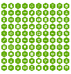 100 activity icons hexagon green vector
