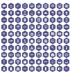 100 loans icons hexagon purple vector image vector image