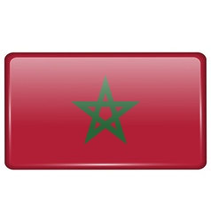 Flags Morocco in the form of a magnet on vector image