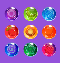 Bright colorful glossy candies with sparkles for vector