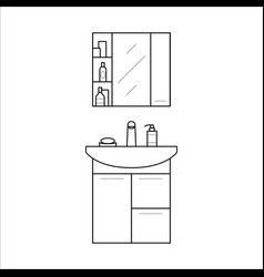 Bathroom sink and shelf home furniture lineart vector