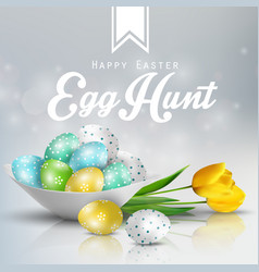 Easter background with colored eggs vector
