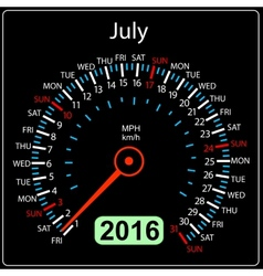 2016 year calendar speedometer car July vector image vector image