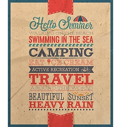 Hello summer text vector