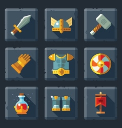 Relief game icon set on stone vector