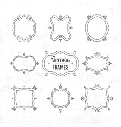 Set of 9 cute vintage frames vector