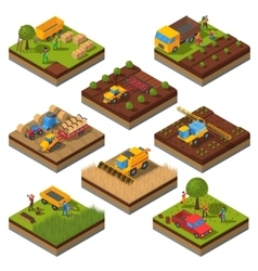 Agricultural machines isometric field set vector