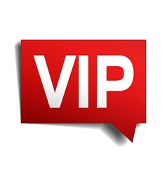 Vip red red 3d realistic paper speech bubble vector