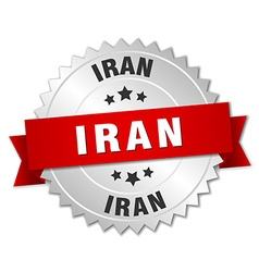 Iran round silver badge with red ribbon vector