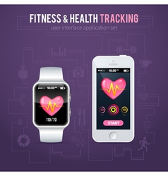 Health fitness tracker on smart watch vector